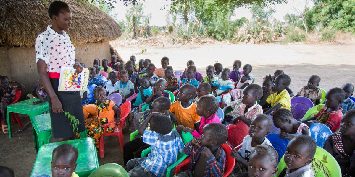 Des enfants en classe à l'école Gulawein à Maban, Soudan du Sud.